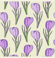 floral seamless pattern with purple realistic vector image