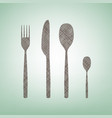 fork spoon and knife sign brown flax icon vector image