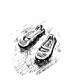 Hand-drawn with sandals on grass vector image