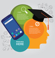 head thinking education info-graphic business vector image