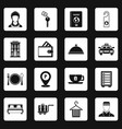hotel icons set squares vector image