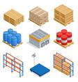 isometric set of storage equipment isometric icons vector image