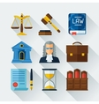 Law icons set in flat design style vector image