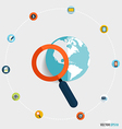 Magnifying glass and globe with application icons vector image
