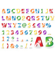 Metallic alphabet letters with shadows vector image