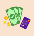 money with the bank card color flat icon vector image