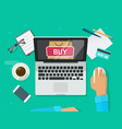 online shopping concept flat style laptop vector image