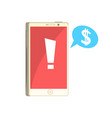 phone with exclamation sign on red screen and vector image