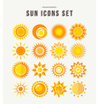 Simple sun icon set summer concept vector image