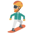 Young man snowboarding vector image
