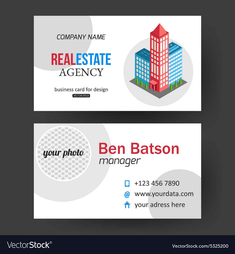 Flat isometric city real estate business card vector