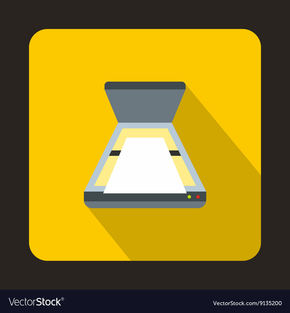 Open scanner icon flat style vector