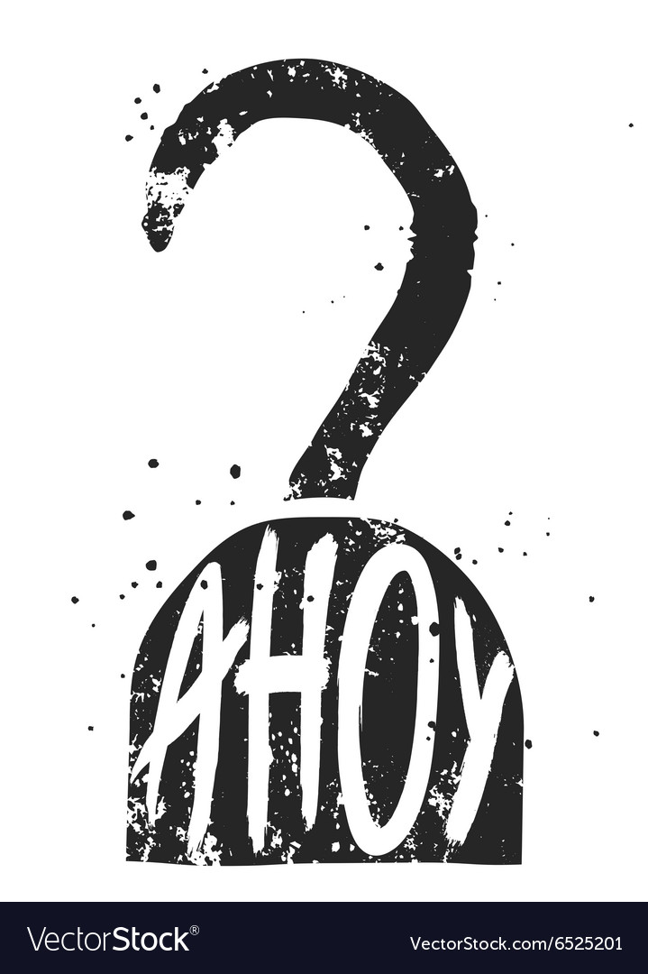 Ahoy typographic poster with pirate hook silhouett vector