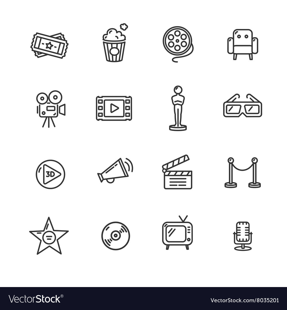 Cinema outline icon set vector