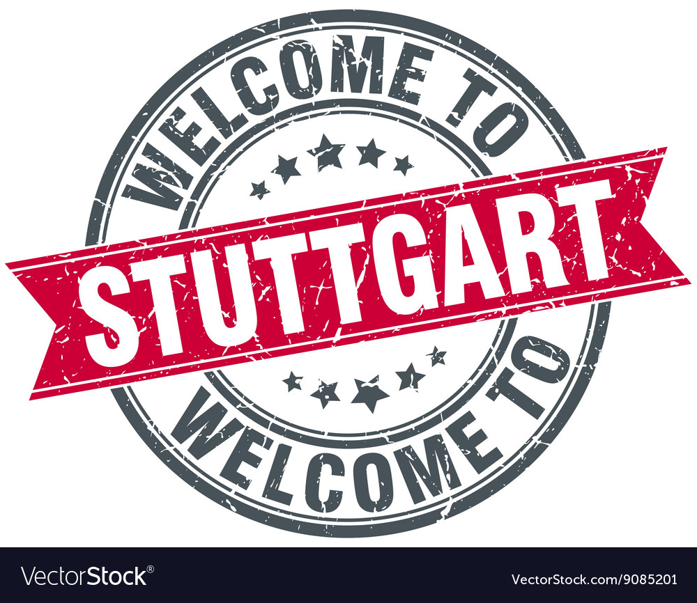 Welcome to stuttgart red round vintage stamp vector