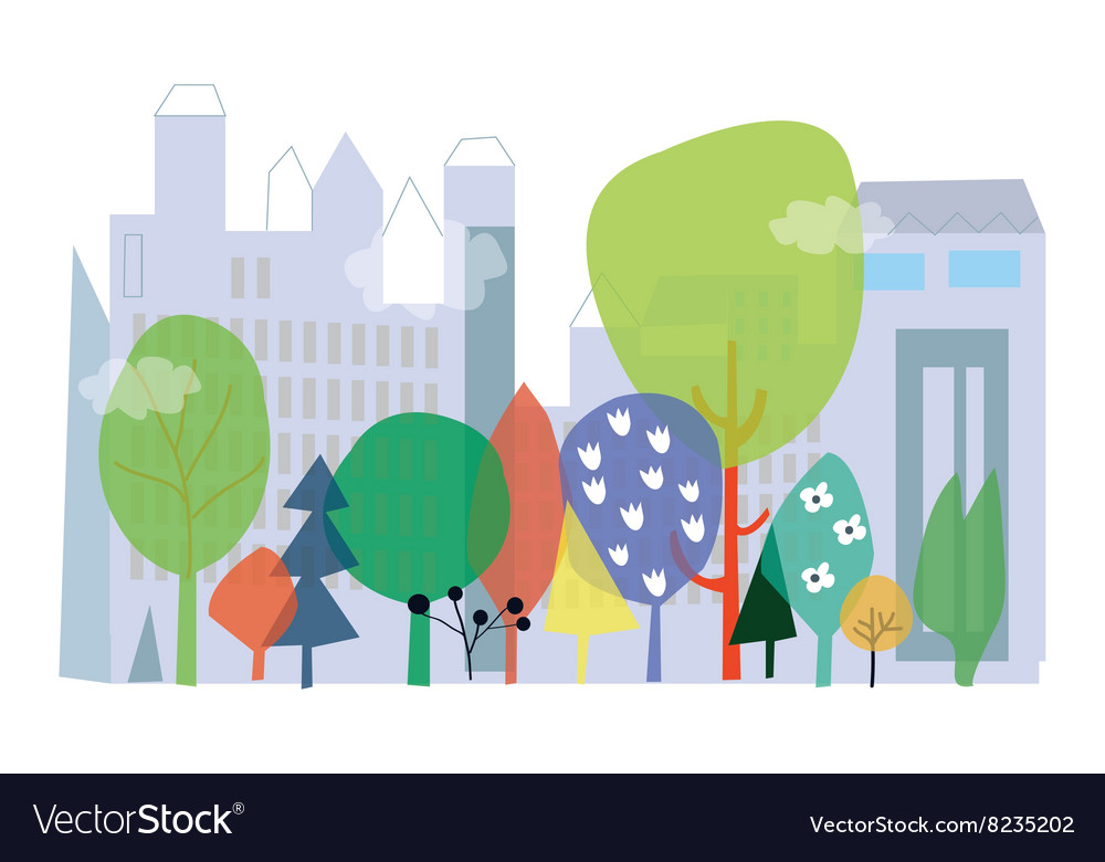 City and nature ecology  concept with flo vector