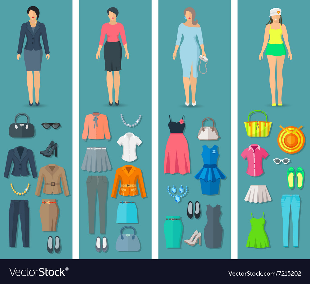 Vertical banners set of woman clothes flat icons vector