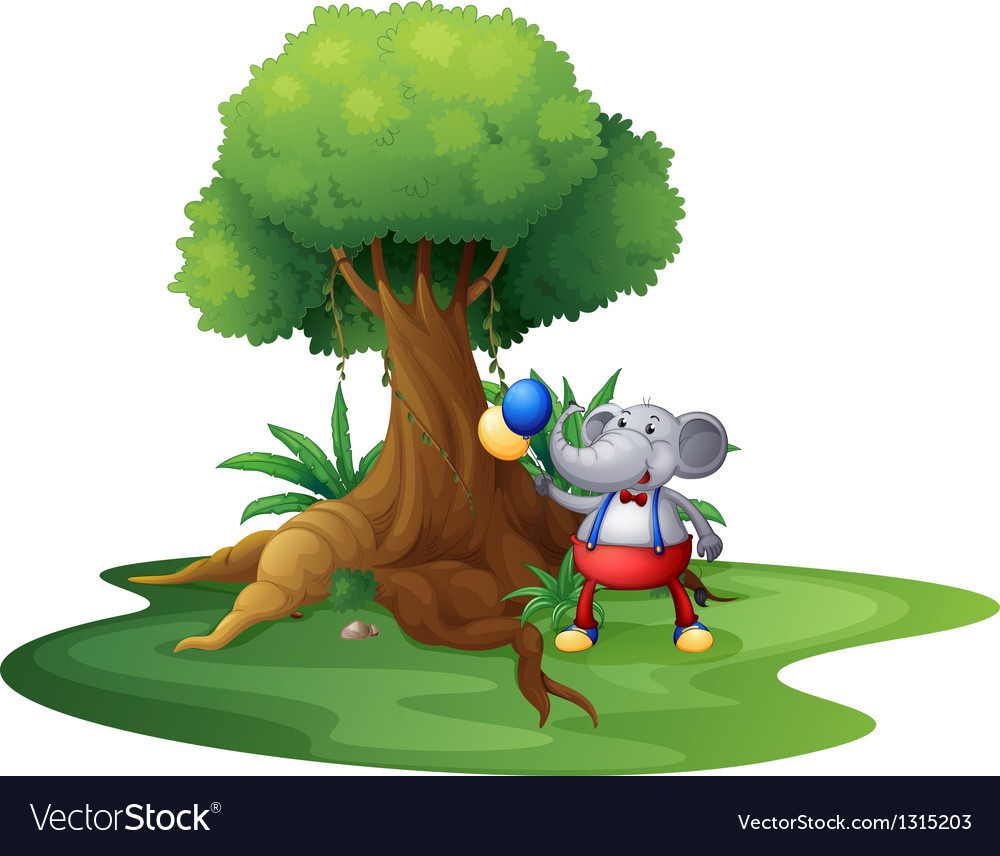 A young monkey with balloons near the big tree vector