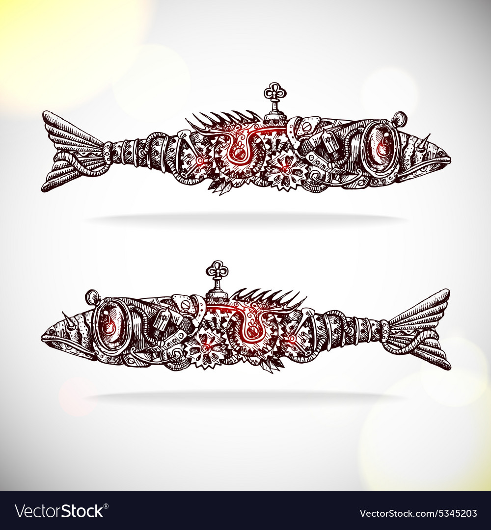 Mechanical fishs vector