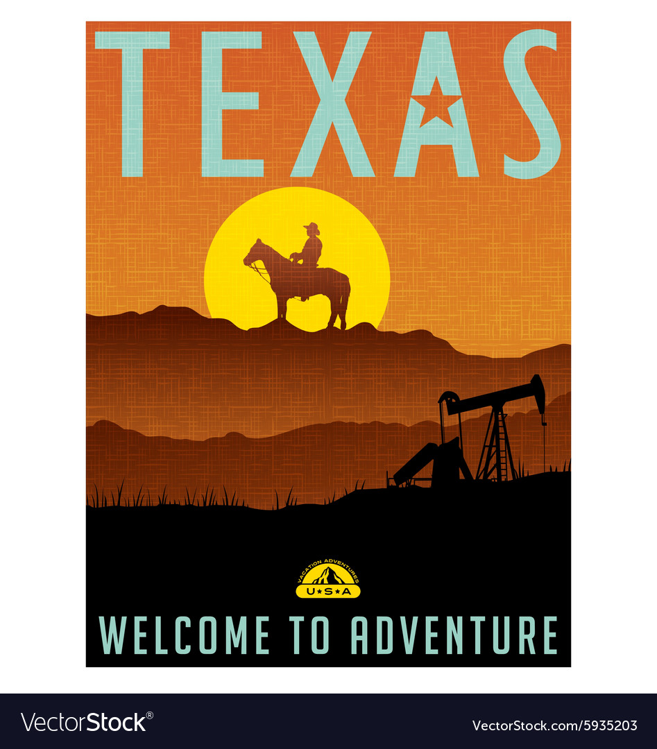 Retro travel poster for texas vector