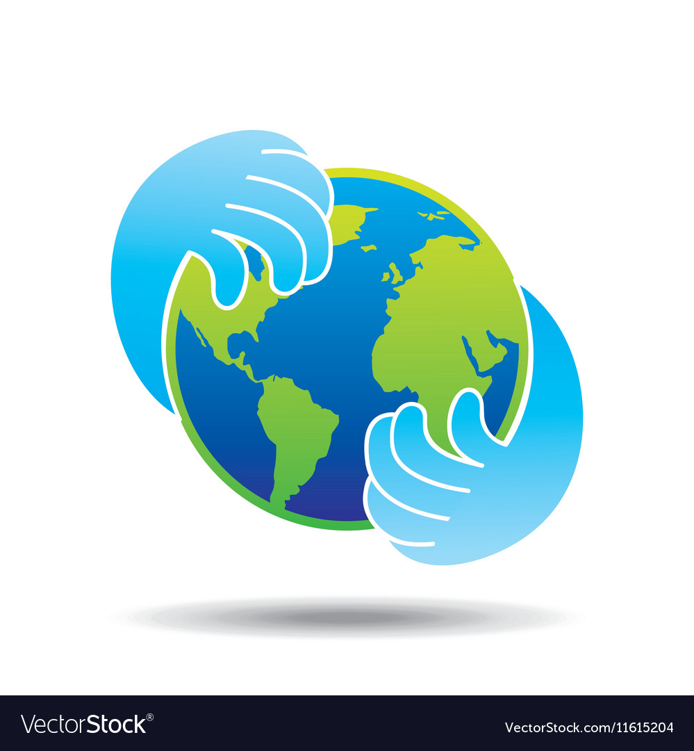 Hands hold globe environment earth icon vector