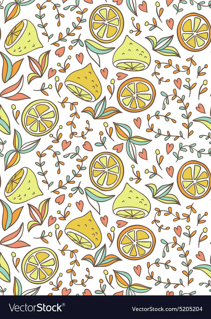 Seamless handdraw pattern with lemon and flowers vector