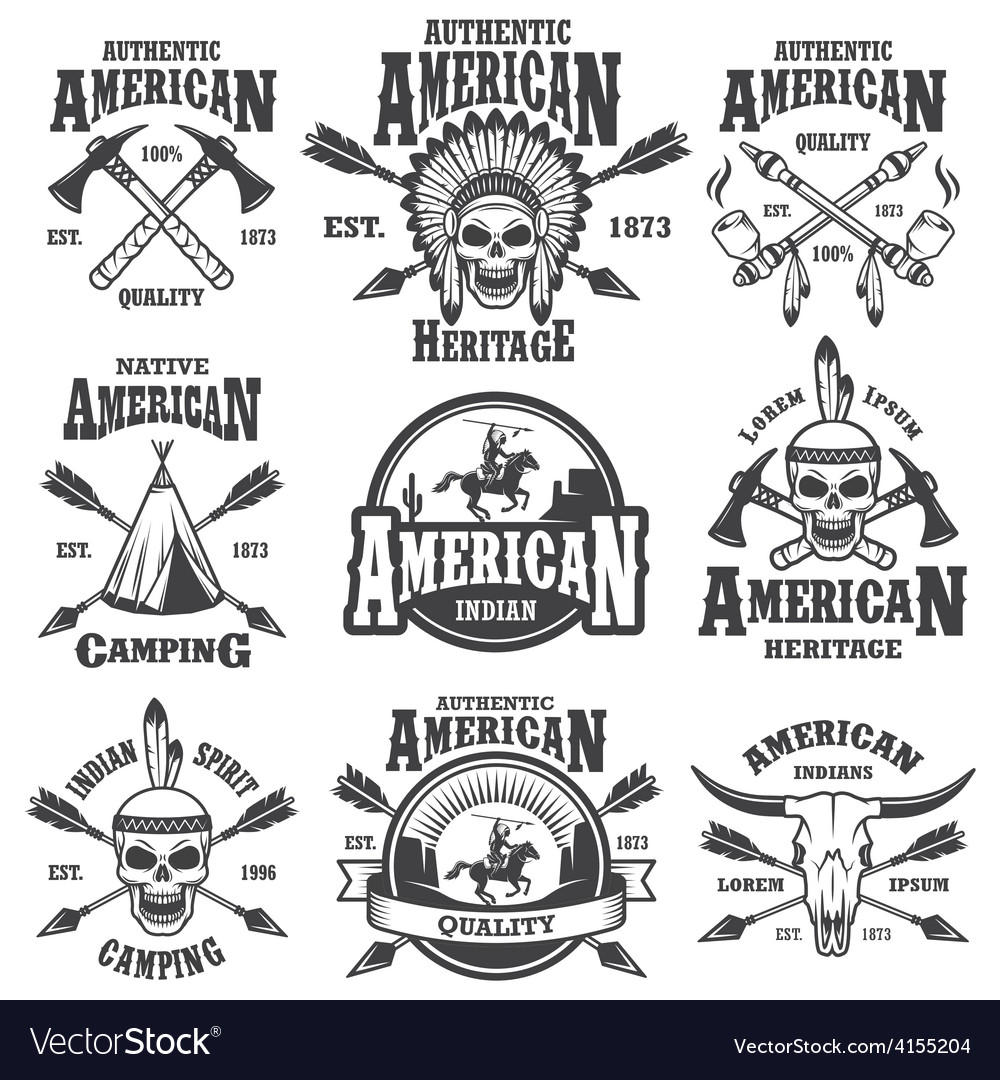 Set of american indian emblems vector