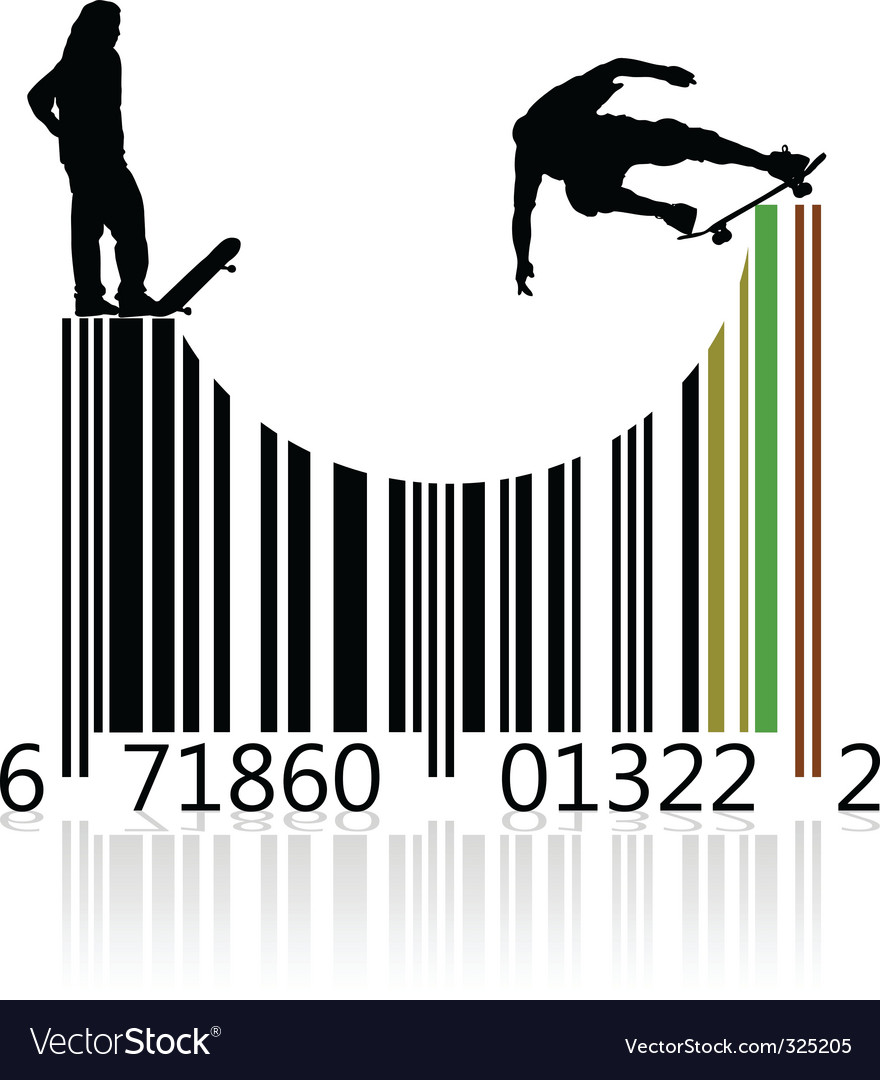 Barcode skaters vector