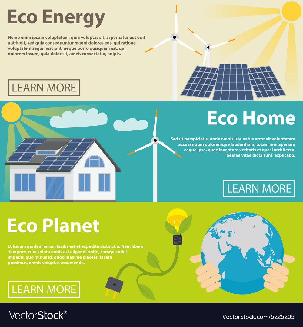 Eco energy horizontal banner set with green home vector
