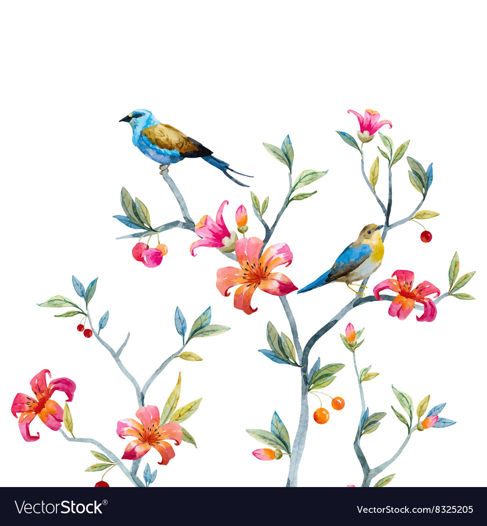 Floral composition with birds vector