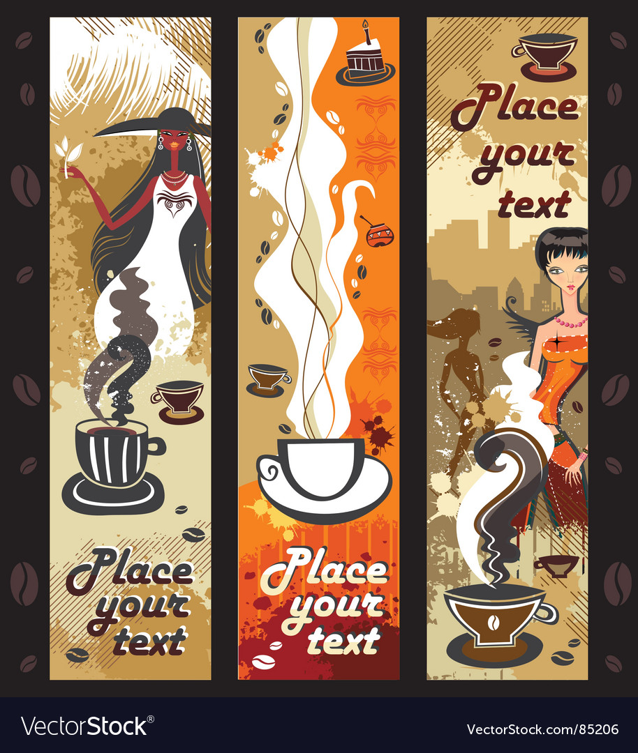 Coffee girls banners vector