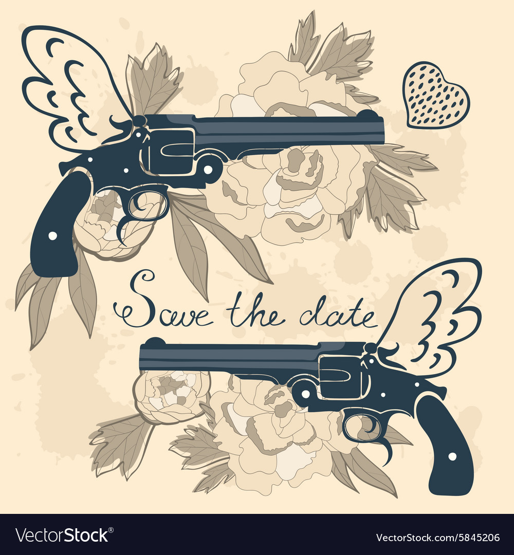 Save the date card with two flying guns and vector