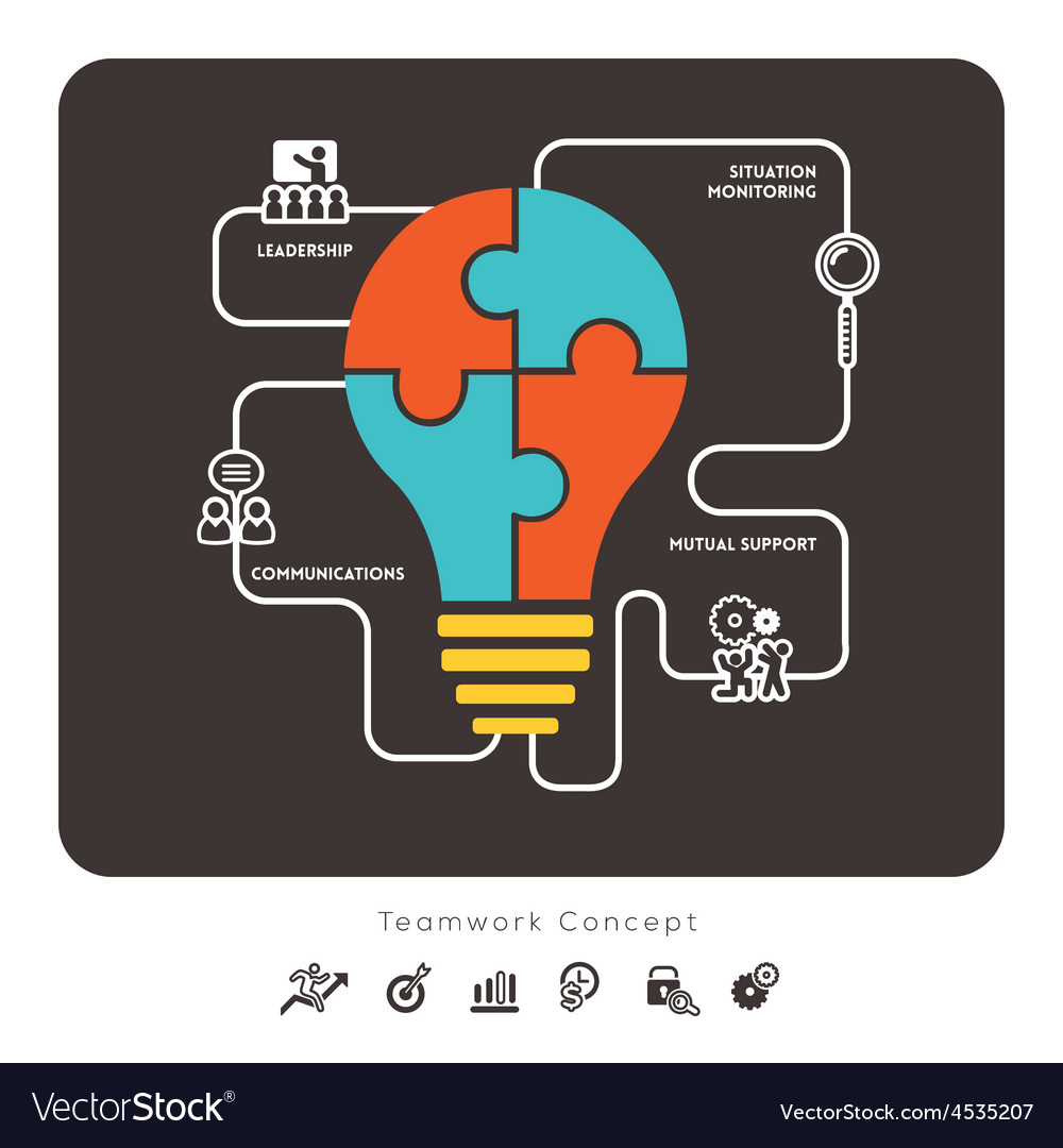 Business teamwork concept with lightbulb icon vector