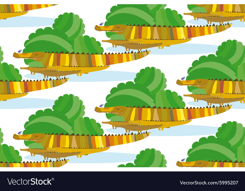 Crocodile family in a green bushes vector