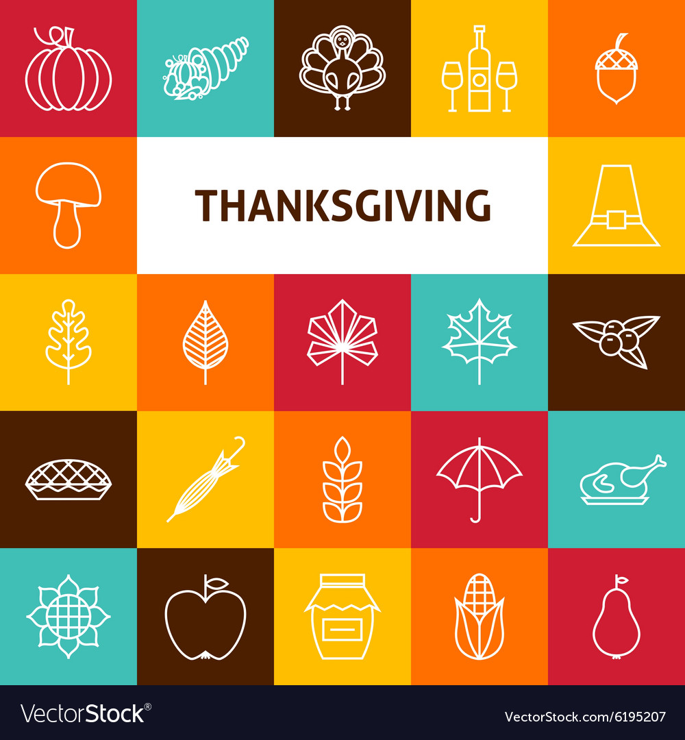 Line art thanksgiving day holiday icons set vector