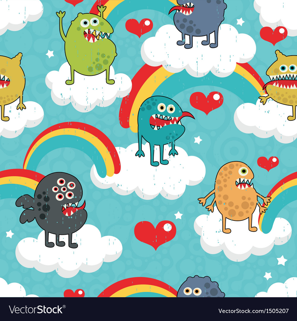 Rainbow monster party vector