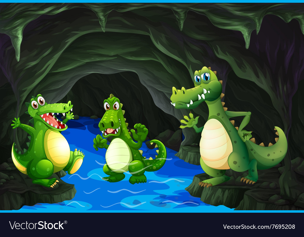 Three crocodile living in the cave vector