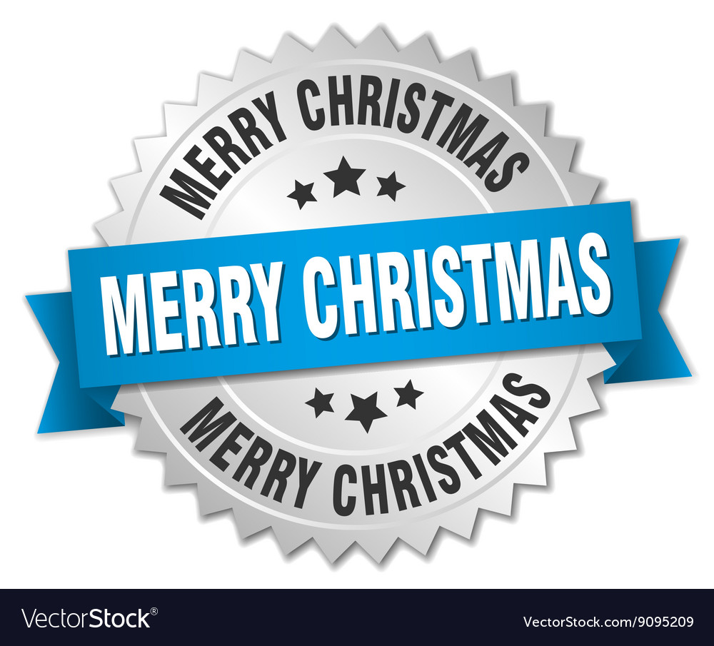 Merry christmas 3d silver badge with blue ribbon vector