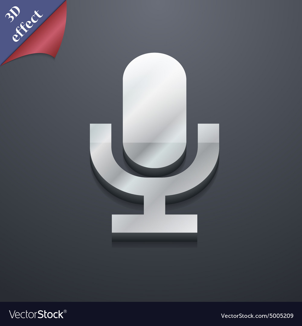 Microphone icon symbol 3d style trendy modern vector