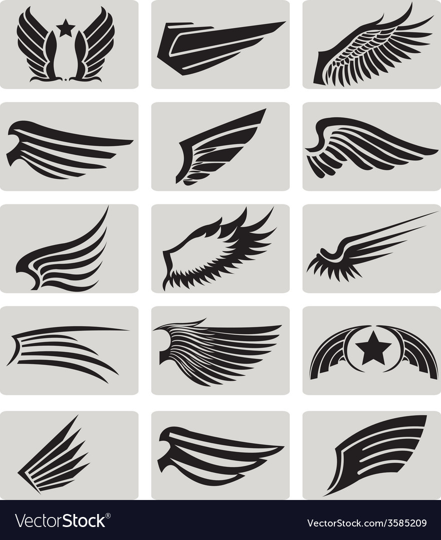 Wings collection set 2 vector