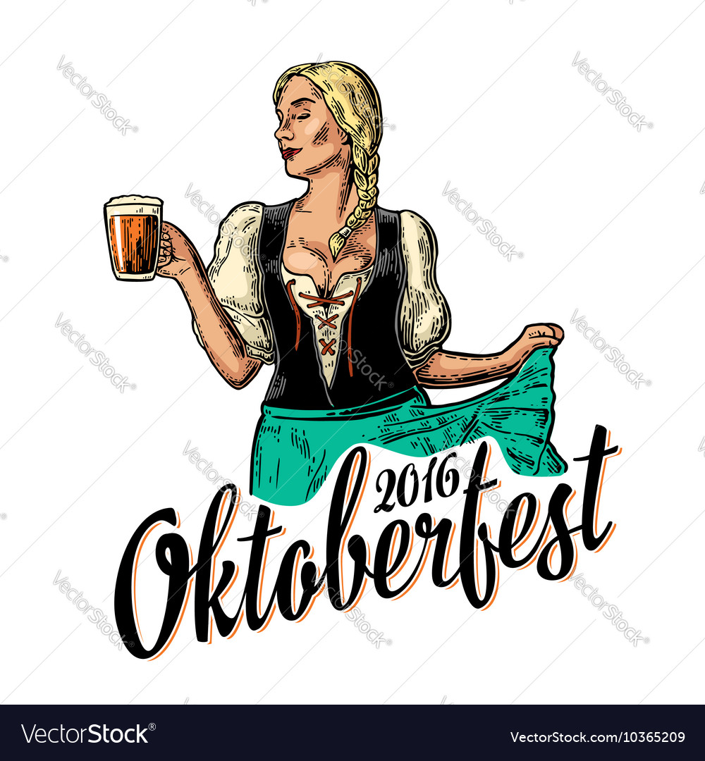 Young sexy oktoberfest woman wearing a traditional vector