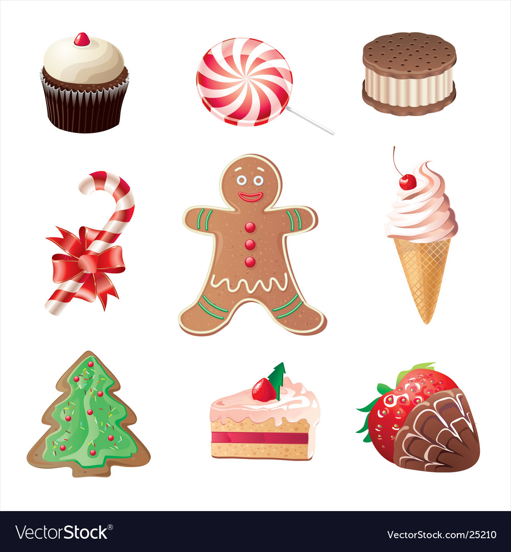 Christmas sweets icons set vector