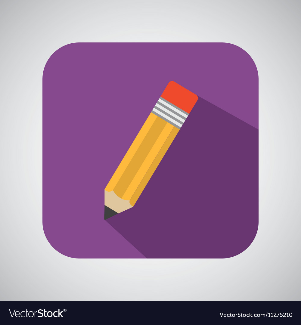 Pencil cartoon writing shadow and purple vector