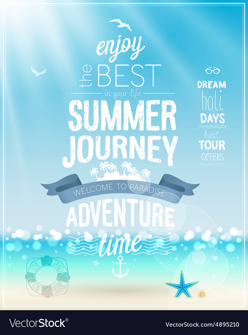 Summer journey poster with tropical background vector