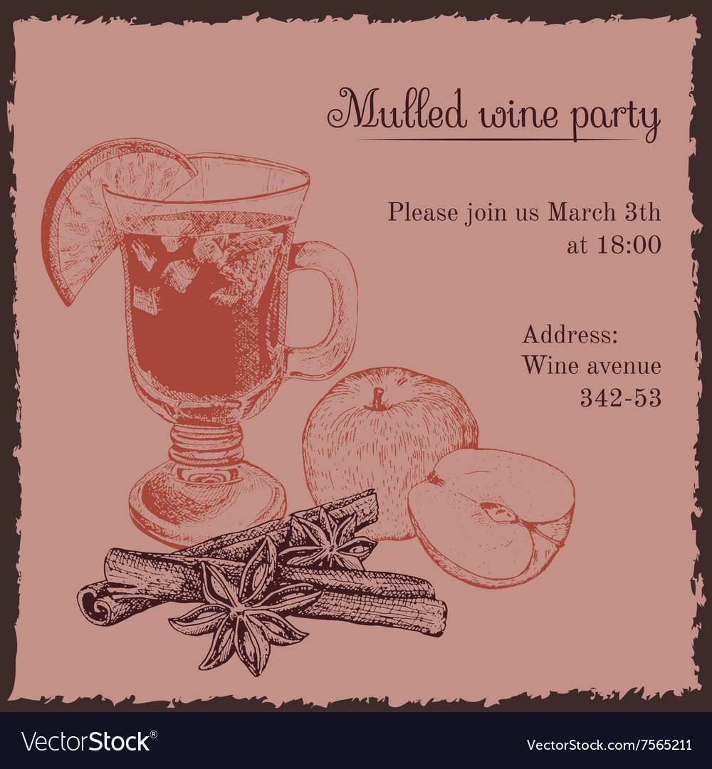 Invitation template for mulled wine party vector