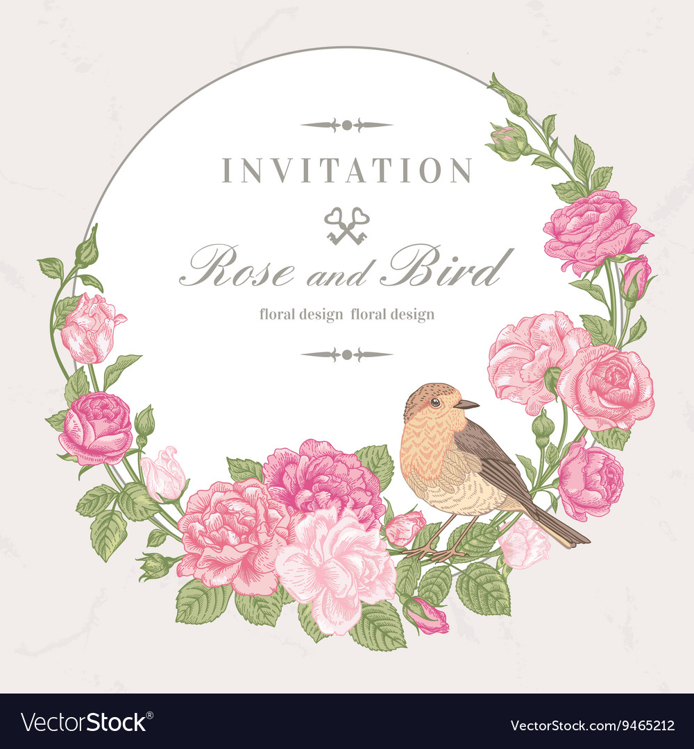 Beautiful frame with pink roses and birds vector