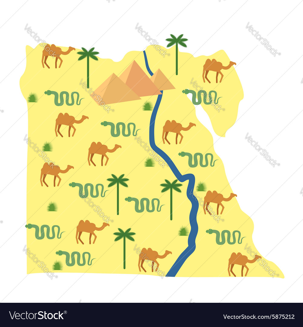 Egypt map characters and attractions of egypt vector
