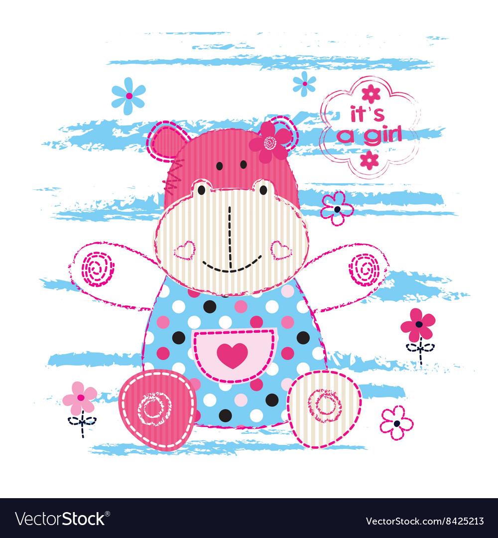 Cute baby hippo vector