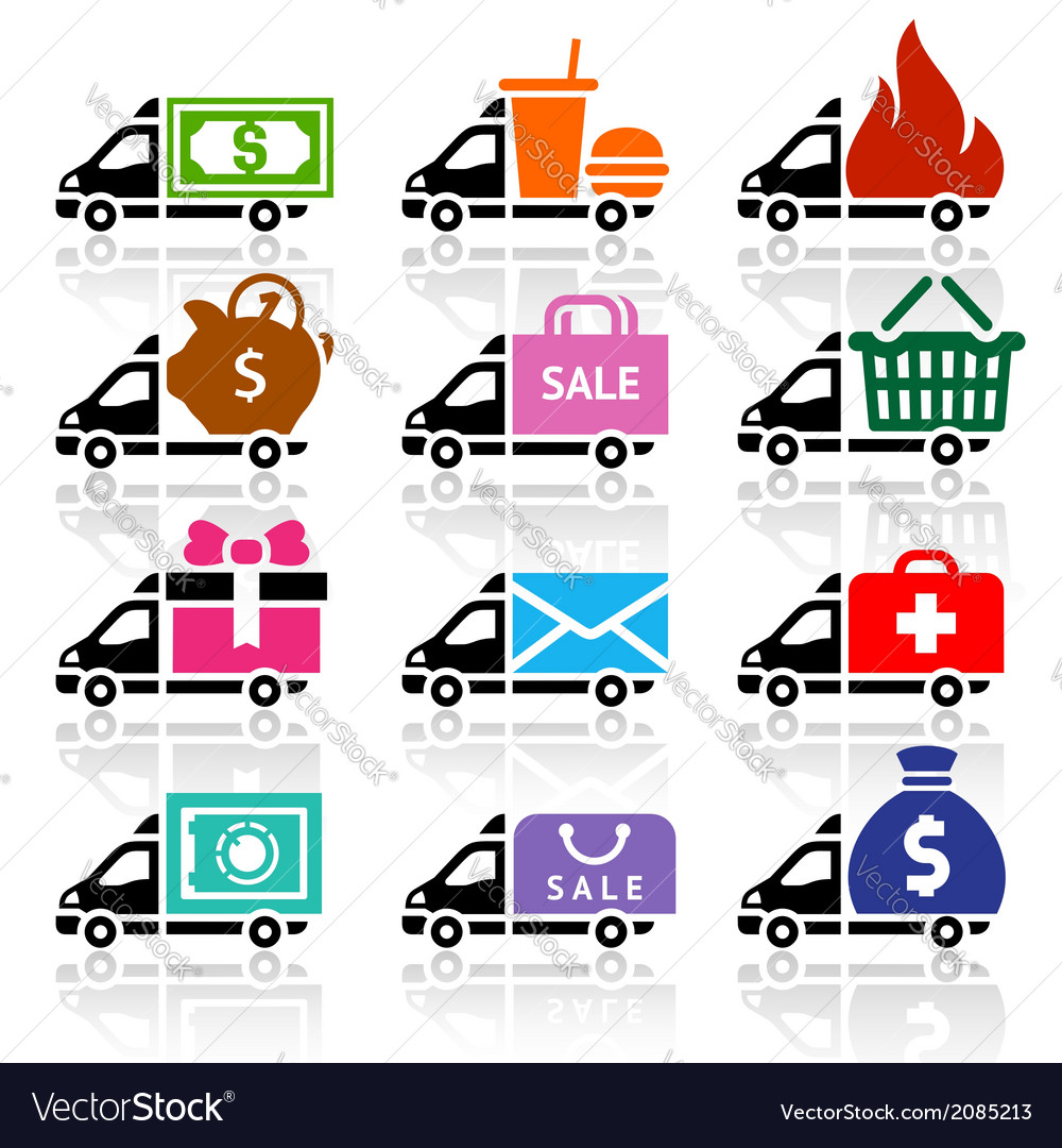 Delivery truck flat icons set vector