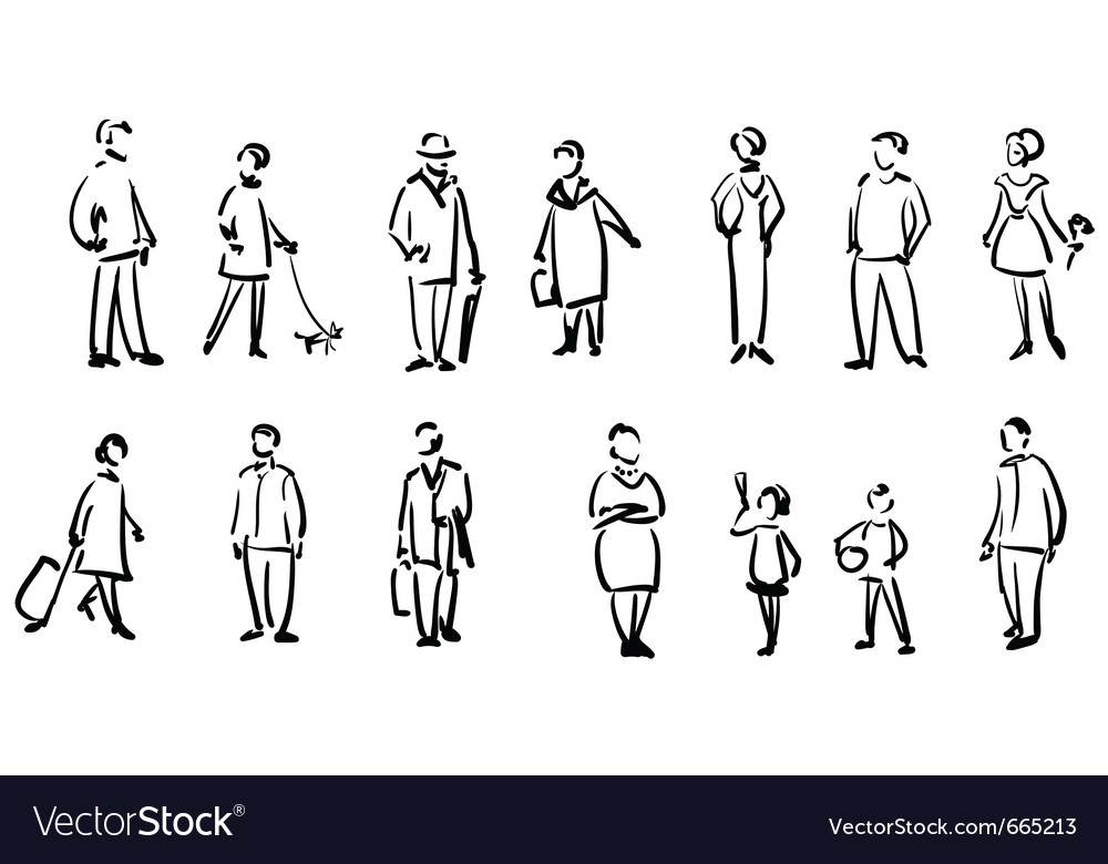 People sketch vector